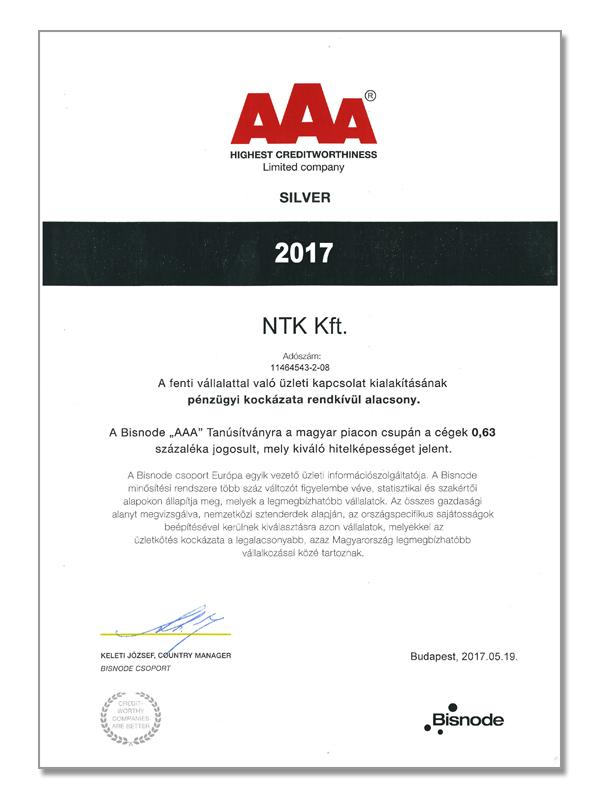 AAA - Pénzügyileg stabil vállalkozás a Bisnode minősítése alapján