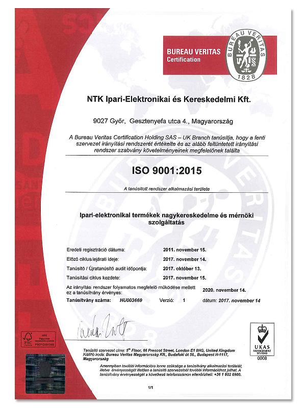 Minőségtanúsítvány ISO9001:2008
